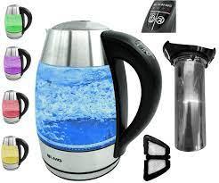 Su Isıtıcısı LED Cam Sıcaklık Ayarlı Premium – En İnce Paslanmaz Çelik,  2200 W – Renk Oyunu ve Sıcak Tutma Fonksiyonlu, 1,8 L Hacim – Pencereli,  Otomatik Kapanma, 60, 70, 80, 90, 100 °C: Amazon.com.tr