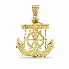 diamond cut mariners cross charm in 10k gold