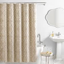 Vue Signature Iron Gates Jacquard Shower Curtain in IvoryTan Bed