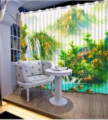 Moderne Druck Schiere Vorhänge Für Zimmer Landschaft Schlafzimmer