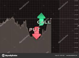 Put And Call Color Arrows Binary Option Chart On Brown 3d