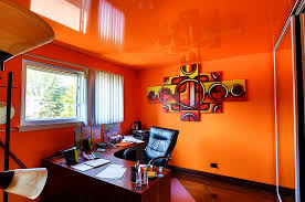 Modern home office wall colors Yellow Reflective Ceiling Turns The Home Office Into World Of Orange design Innovative Coverings Tejaratebartar Design Hot Trend 25 Vibrant Home Offices With Bold Orange Brilliance