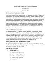 sample workplan workplan for career research paper student  4 pages work plan for career research paper