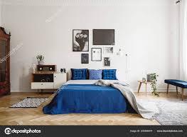 Vintage Schlafzimmer Innenraum Mit Nachttisch King Size Bett Mit