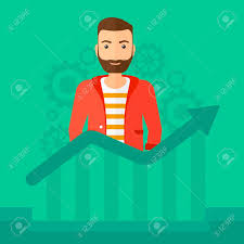 A Hipster Man With The Beard Standing Behind Growing Chart On