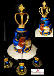 Afro Boy Prince Baby Shower Cake Boy Baby Shower Cake Blue And Gold