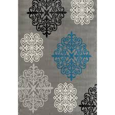 modern geometric damask design gray 8 ft x 9 ft area rug
