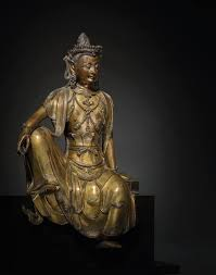 A magnificent gilt-<b>bronze</b> seated figure of bodhisattva, Early Ming ...