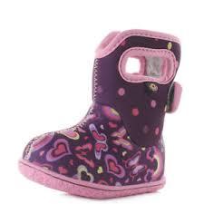 Details About Kids Baby Bogs Rainbow Pink Purple Love Heart Wellington Boots Sz Size