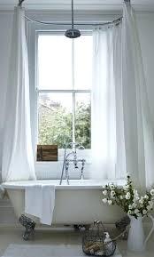 white shabby chic bathroom ideas with simple oval tub shower curtain rod and elegant rug clawfoot shower curtain tub decorations rod