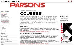 Parsons School Of Design Career Services No Landing Pages For Courses On Parsons Website Dived Into