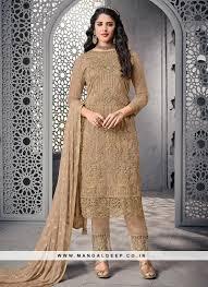 Designer Party Wear Churidar Net Party Wear Beige Color Designer Salwar Kameez With