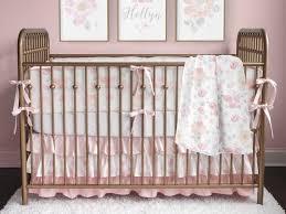 pink baby bedding blush gray gold girl