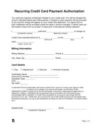 Credit Card Authorization Form Word Free Recurring Credit Card Authorization Form Word Pdf Eforms