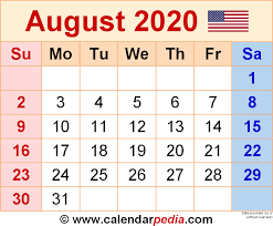 printable calendar august 2020 august 2020 calendars for word excel pdf