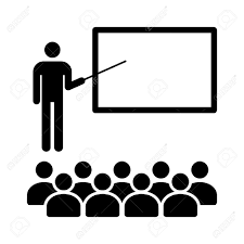 Symbol For Teacher Teacher With Stick In Classroom With Students Flat Icon For