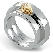 Matching Heart Fingerprint Inlay Wedding Ring Set In Platinum And