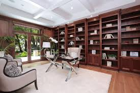 killer home office built cabinet ideas. Home Office With A Large Built-in Shelves And Coffered Ceiling Along Glass Door Recessed Lights.Zillow Digs Killer Built Cabinet Ideas