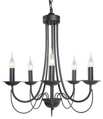 5 light chandelier black iron