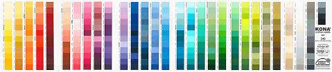 Kona Solids Colour Card 340 Colours