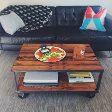 furniture on wheels. Vintage Casters On Steel And Reclaimed Wood Coffee Table Furniture Wheels