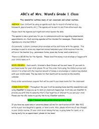 Class Agendas Abc S Of Mrs Wand S Class September Newsletter