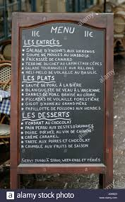 Restaurant Chalkboards A Typical French Restaurant Chalkboard Menu At Tours Loire