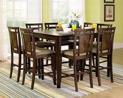 Nice Kitchen Table Sets with Brown Walnut Side Chairs and Counter