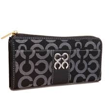 Coach Madison Accordion Zip In Signature Large Black Wallets AGQ