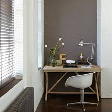 alcove office. grey alcove in all white home office