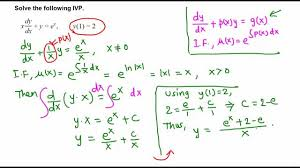ivp first order linear diffeial equation example 1