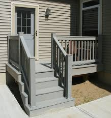 prefab outdoor deck stairs. exterior:exterior wooden deck stair railings design in grey painted color ideas exterior prefab outdoor stairs t