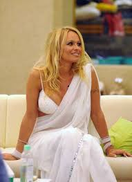 High Quality Bollywood Celebrity Pictures Pamela Anderson Hot. Pamela Anderson Hot Boobs Show In White Saree At Bigg Boss 4