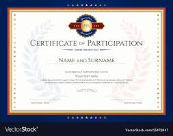 Certificate Of Participation Templates Certificate Of Participation Template With Laurel