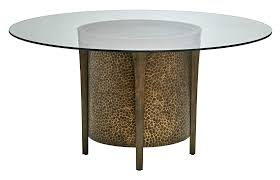 dining tables glass top round dining table in quarter sawn oak and metallic accents