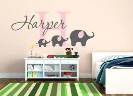 baby name wall decor custom baby name wall sticker cute elephants wall decal nursery wall mural