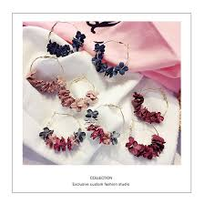 <b>Korea Flowers</b> Wild Fake <b>Flower</b> Long <b>Earrings</b> J851 | Shopee ...