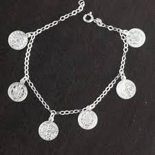 womens solid 925 sterling silver saint benedict san benito 7 chain bracelet