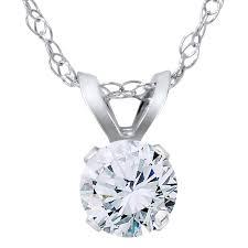 3 8ct round diamond solitaire pendant necklace 14k white gold 0