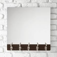 Umbra Walnut 5-Hook Wave Mirror ...