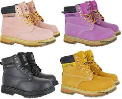 sentinel las pink groundwork safety steel toe cap leather work hiking boots size 3 8