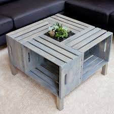 ... Coffee Table, Astonishing Grey Square Minimalist Wood Wine Crate Coffee  Table With Storage Design To ...