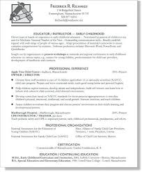 Resume For Early Childhood Teacher Zromtk Adorable Child Care Resume Sample
