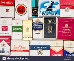 Packets Of Various Old Cigarette Boxes Stock Photo
