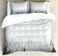 forest duvet cover set wilderness pattern with many trees nature forest duvet cover forest green linen