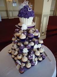 8 Ivory Purple Silver Wedding Cupcakes Photo Purple Wedding Cake