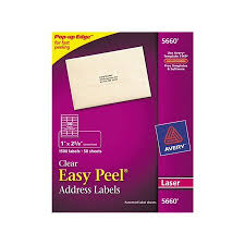 Avery Address Lables Avery Easy Peel Mailing Address Labels 1 X 2 63 In Clear 1500