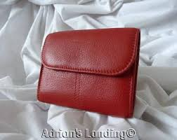 New COACH Vintage Sonoma Compact Clutch Red Pebbled Leather Wallet  4967