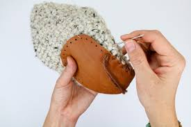 how to add leather soles to crochet or knit slippers free slipper soles template from