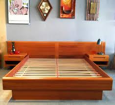 platform bed with nightstand. Enchanting Platform Bed With Floating Nightstands Catchy Bedroom Furniture Decor Mid Century Nightstand